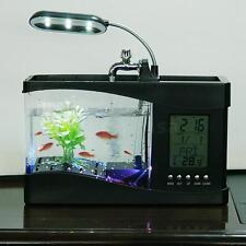 Black USB Desktop Mini Electronic Aquarium Fish Tank Pump LED Light Clock O8Q1