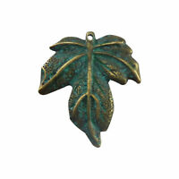 Wholesale 10pcs Antiqued Zinc Alloy Green Maple Leaf Charms Pendant Crafts 52081