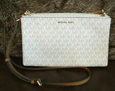 Michael Kors Jet Set Travel Double Gusset Purse Tote Handbags Vanilla Signature