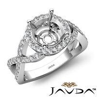 Round Semi Mount Micro Pave Halo Diamond Engagement Ring Criss Cross Shank 0.7Ct