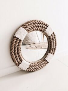 Handmade Nautical Coastal Hampton Style Round Rope Mirror Large 80cm