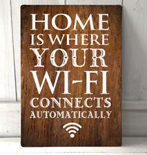 El hogar es donde el efecto madera automactically Wifi Conecta cita letrero de metal.