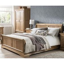 Toulon solid oak furniture 5' king size bedroom sleigh bed