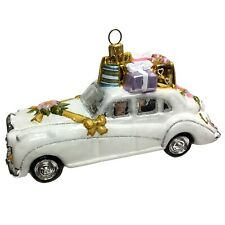 Just Married White Wedding Car with Gifts Polish Glass Christmas Tree Ornament