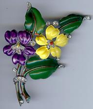 TRIFARI VINTAGE PURPLE YELLOW GREEN ENAMEL RHINESTONE FLOWERS FUR CLIP