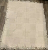 """Ivory/Cream Woven -Tapestry Throw Blanket ~ Checkered Weave ~ 63"""" X 48"""""""