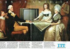 PUBLICITE ADVERTISING 016  1985  ITT téléviseur Pal Secam (2p) George Washington