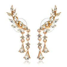 Ivy Leaves Leaf Tassel Cubic Zircon Wrap Earrings Ear Pins Cuffs Rose Golden