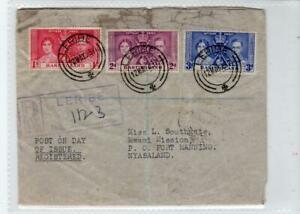 BASUTOLAND: 1937 Registered first day cover to Nyasaland (C51994)