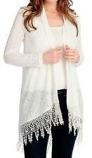 NEW - OSO Casuals® Knit Long Sleeved Lace Trimmed Open Cardigan - Sz. M