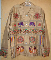 Chico's Design Gold Silk Embroidered Jacket Size 2 Large Unlined hearts birds