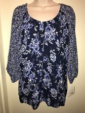 CROFT & BARROW Women's Print Crepe Banded-Bottom Top NAVY FLORAL Size L NEW Tags