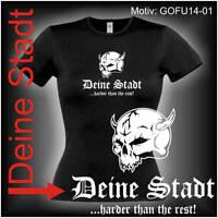 Damen T-Shirt Girlie Shirt mit Wunschtext Stadt oder Namen Wunschdruck GOFU14-01