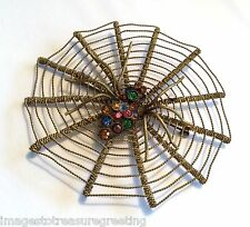 Large vintage Czech gold-tone metal & multi-colour spider in web brooch