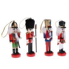 4Pcs 12cm Wooden Nutcracker Handcraft Walnut Puppet Toy Christmas Decor Gift