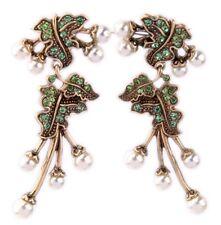 PERIDOT GREEN WHITE PEARL BEAD Crystal Rhinestone Gold Flower Leaf Drop Earrings