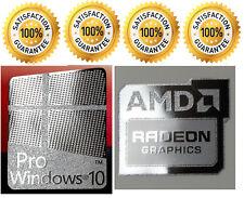 1 x Pr0 Window 10 Silver Logo Sticker Decals & Free AMD Radeon graphics Silver.