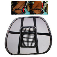 Mesh Back Lumbar Support Vent Cushion Car Office Chair Cushion Seat Black Cool H