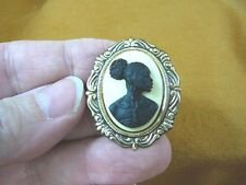 (CA10-27) RARE African American LADY black + ivory CAMEO Pin Pendant JEWELRY