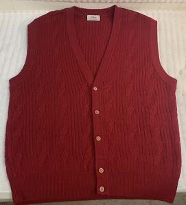 Vintage Mens Titleist Red V-Neck Golf Sweater Vest 60% Wool Sz XL