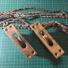 Pair Solid Brass Vintage Reclaimed Sash Window Pulleys, With Chains