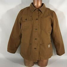 Men's Carhartt work Jacket Barn Coat Brown Size XL Lined Button Long Sleeve