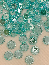 Sequins Starburst Snowflake Flower 8mm Sky / Lt Turquoise Blue Super Shine