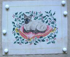 Siamese Cat On Pink Pillow Needlepoint/Tapestry Canvas Hand Painted