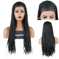 Long Black Micro Braided Box Braids Wigs Synthetic Lace Front Braiding Hair Wigs