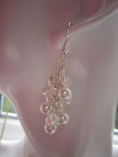 Drop / Dangle Earrings - White Pearl & Crystal Clusters - Silver Plate