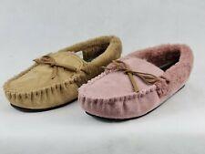 Ladies Dr Keller Vanessa Pink &Tan Moccasin Comfort Slippers Fur Lined Size 3-8
