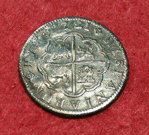 Lovely pirate cob & spanish colonial * Silver 1721-Ca JJ 2 Reales * Scarce!