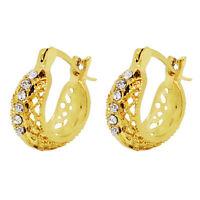 Classic 18 k Gold Plated Jewellery Women White Zircons Hollow Hoop Earrings E895