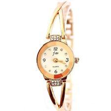 Women's Hot Charm Gold Plated Alloy Rhinestone Bracelet Wrist Watch Gift L-1