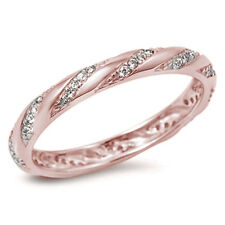 3mm Full Eternity Stackable Wedding Band CZ Ring Sterling Silver Choose Color