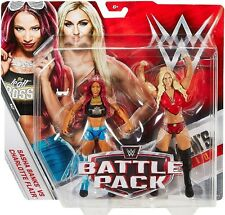 WWE WWF MATTEL BATTLE PACK 47 SASHA BANKS & CHARLOTTE FLAIR ACTION FIGURE SET!!!