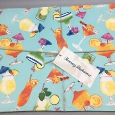x4 Tommy Bahama Tropical Cocktail Drinks Placemat Set Summer Turquoise Outdoor