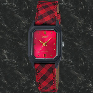 Casio LQ142LB-4A Ladies Analog Watch Red Striped Cloth Band Casual Watch New