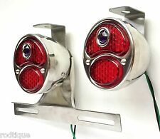 LED Blue Dot Stainless Taillights w/ Plate Light & Brackets Flat Bed Dump F1