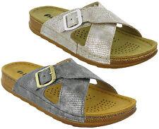 Inblu Sandals Slip On Leather Lined Cross Strap Summer Beach Womens Flats