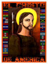 "13x19""Canvas Decor.Home Room Interior design.El Cristo de America.Flags.10582"