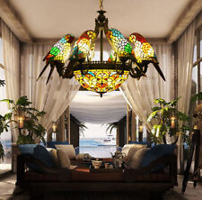 Makernier Vintage Tiffany Style Stained Glass 8 Arms Parrots Chandelier