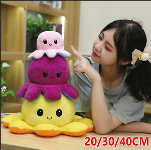 Large Double-Sided Flip Reversible Octopus Plush Toy Stuffed Doll Mood Kid Gift