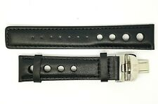 New 20mm Genuine Leather Deployment Watch Strap Band  Black For TISSOT (T-01)