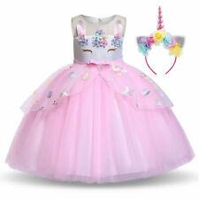 2020 Girls Unicorn Dress Party Costume Fancy Outfit Tutu Rainbow Flower Headband
