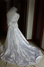 Vintage Wedding Dress Bridal Gown White Pearls Veil Back Bowtie Paisley Beads 18