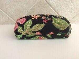 "Vera Bradley Large Black/Pink/Green Floral Clam Shell Eyeglass Case 6.5""x3""x2.5"""
