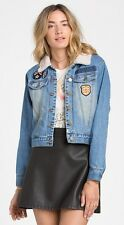 2015 NWT WOMENS BILLABONG PATCHED LOVE DENIM JACKET $100 M dirty medium patches