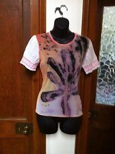 CULTURA/ DESIGNER T SHIRT TOP/UNUSUAL MESH PAINTED STYLE/ SIZE LARGE, 12/ PRETTY