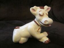 """Rio Hondo cow funny pottery piece whimsical 1950's she's relaxing! 4"""" by 3"""""""